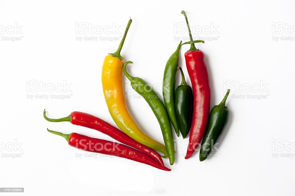 Mix of fresh hot chili peppers stock photo