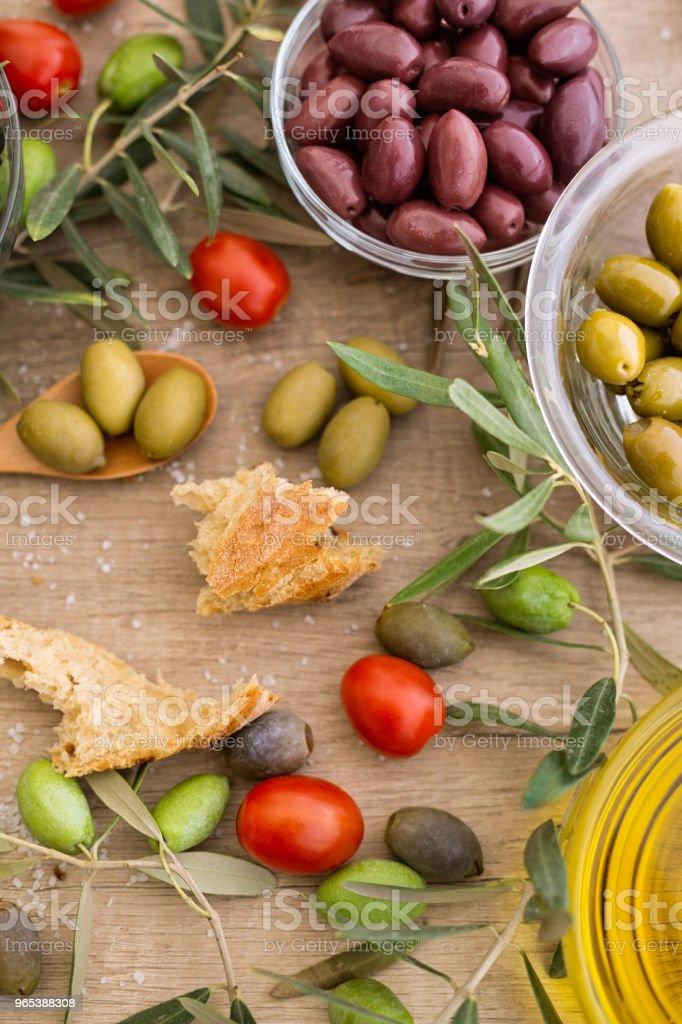 Mix of Italian olives top view zbiór zdjęć royalty-free