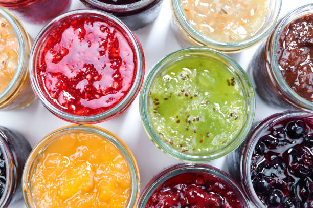 Mix of jams in jars. Homemade fruit jams stock photo