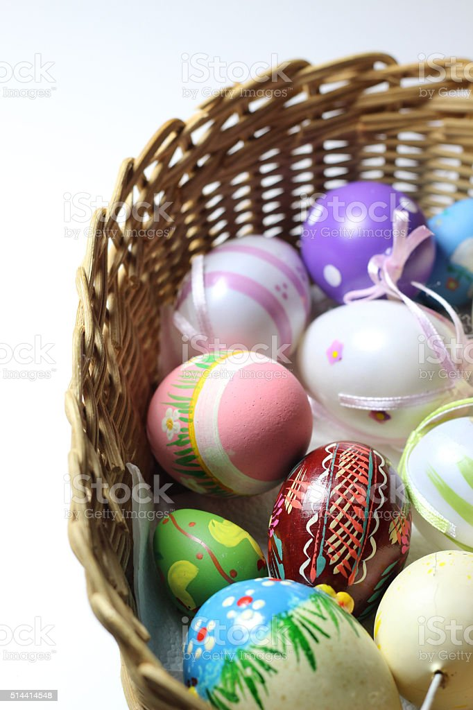Mix of multicolored vivid Easer eggs stock photo