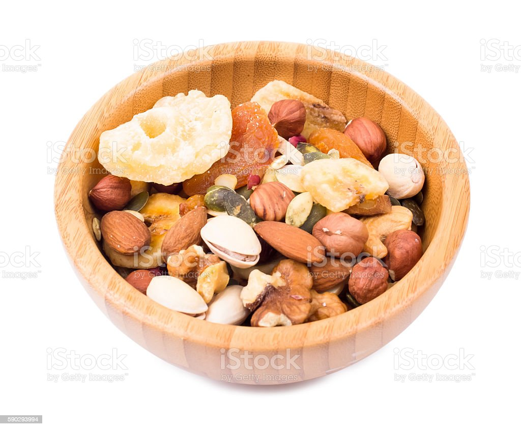 Mix of nuts and dry fruit in a bowl Стоковые фото Стоковая фотография