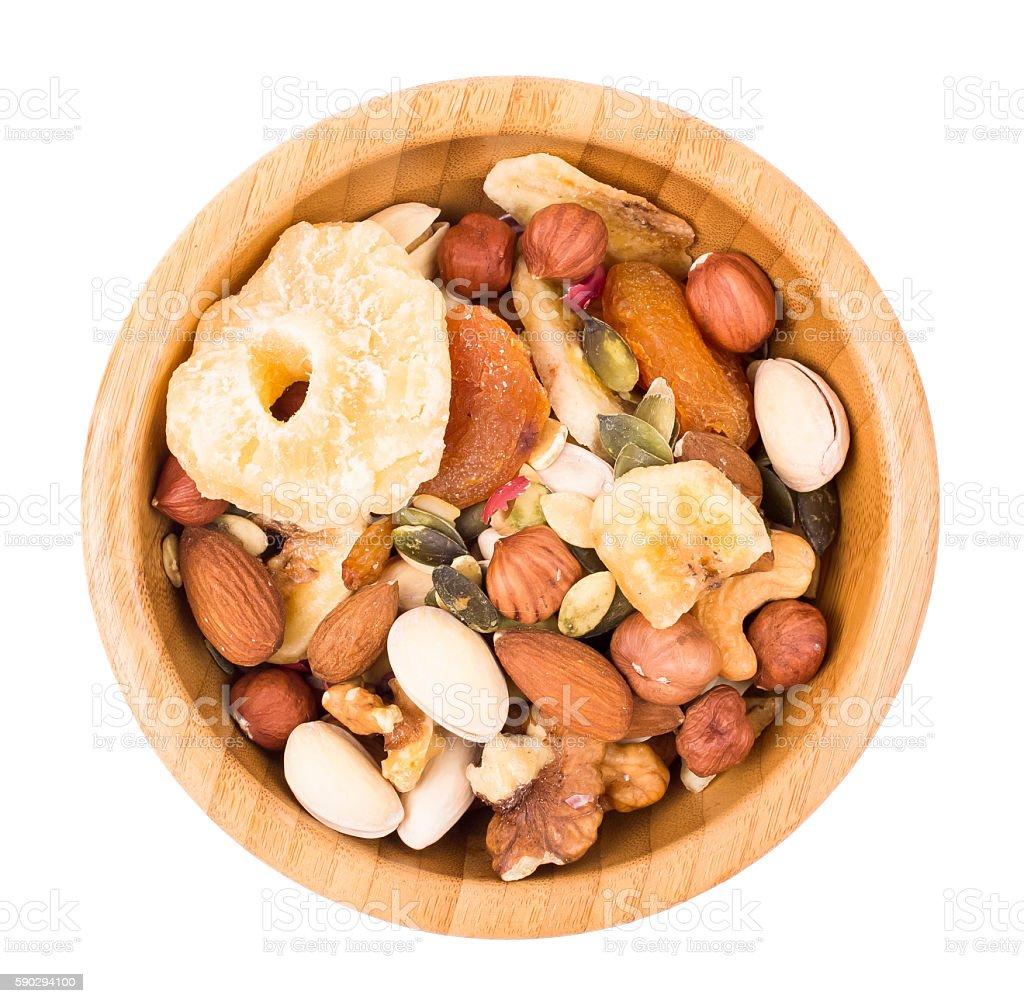 Mix of nuts and dry fruit in a bowl royaltyfri bildbanksbilder