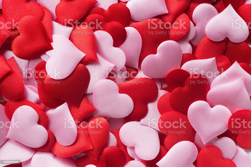 Mix of red and pink hearts royalty-free stock photo