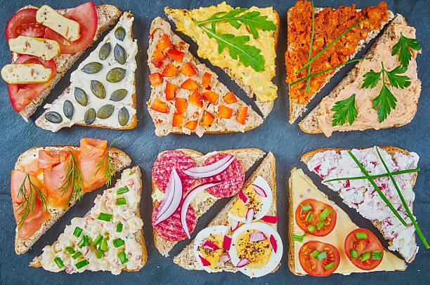 Mix of sandwiches stock photo