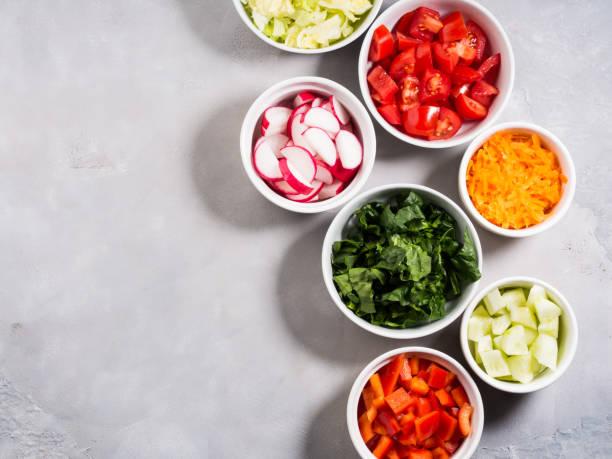 mix of vegetable bowls for salad or snacks - ciąć zdjęcia i obrazy z banku zdjęć