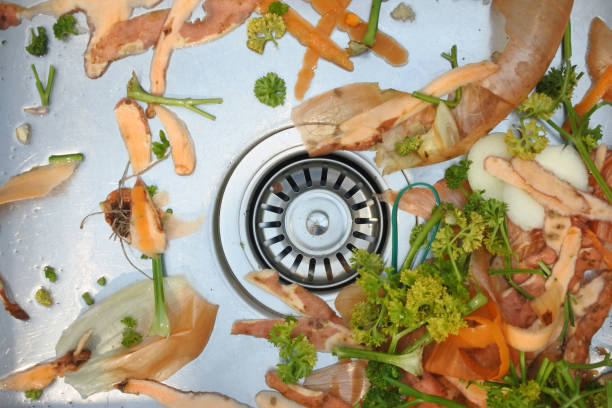 Mix of vegetables waste in home kitchen sink stock photo