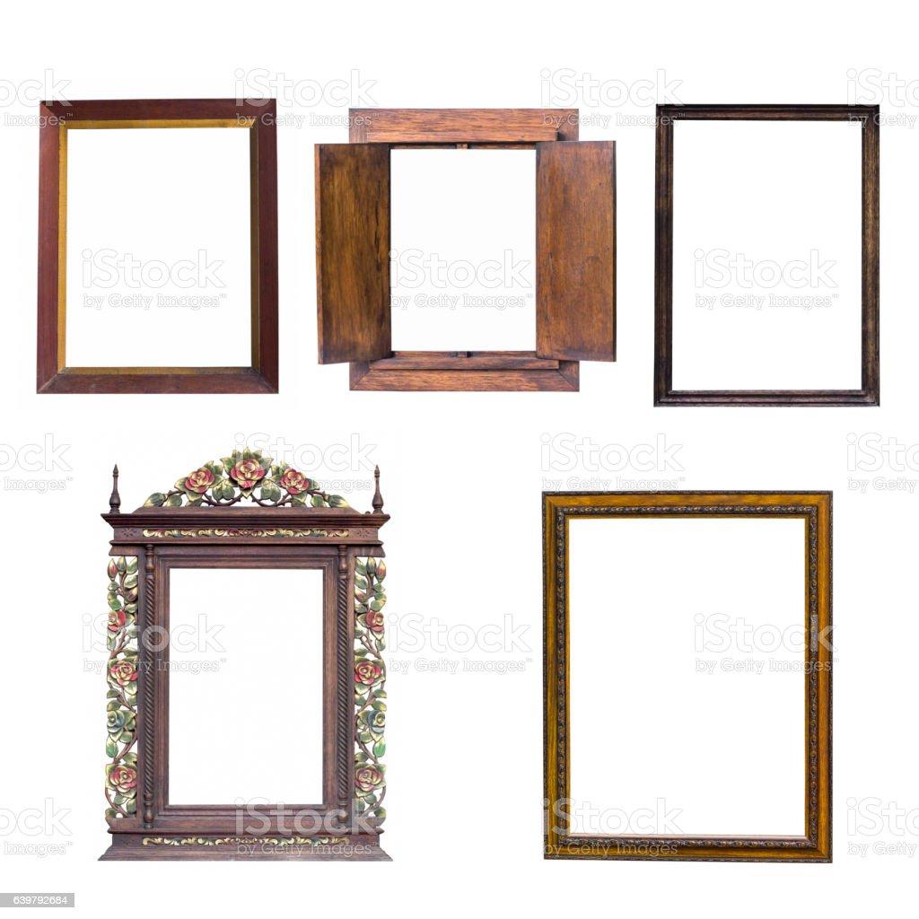 mix old wood frame stock photo