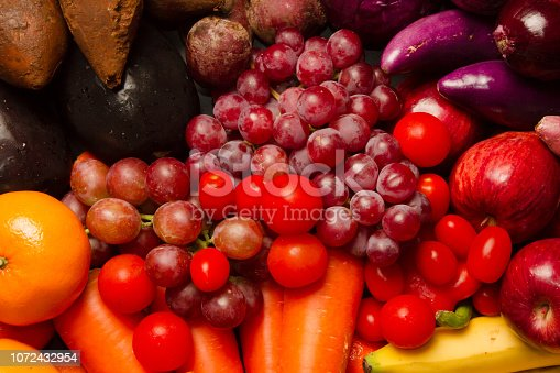 istock Mix purple and red vegetable and fruit 1072432954