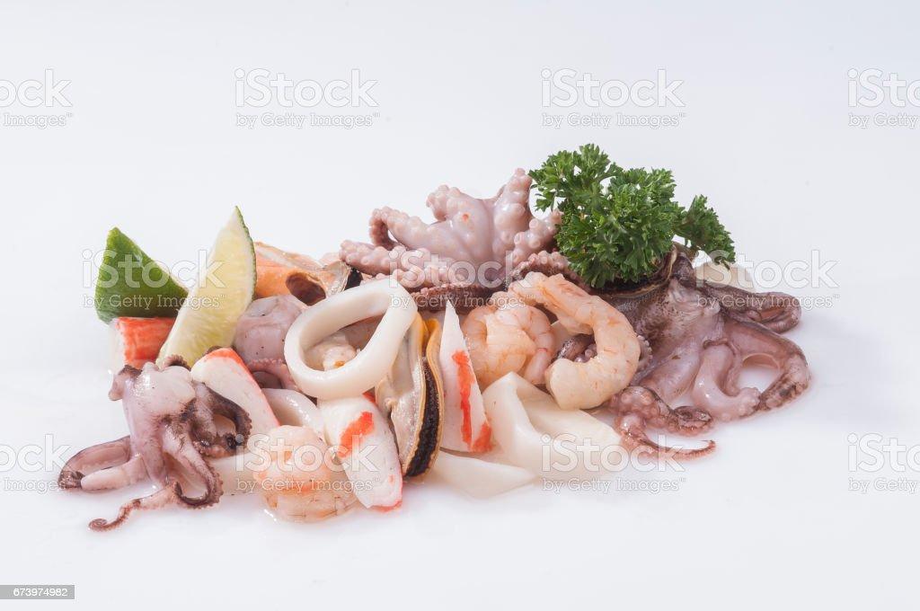 Mix seafood raw fresh with lemon & parsley royalty-free stock photo