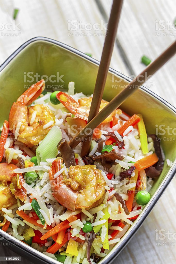 Mix vegetables with rice and shrimp royalty-free stock photo