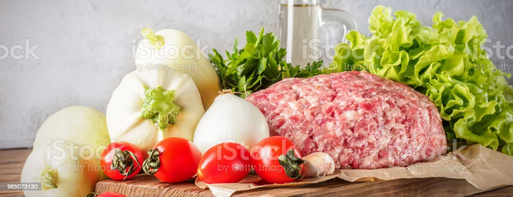 Mixe of ground meat minced beef and pork zbiór zdjęć royalty-free