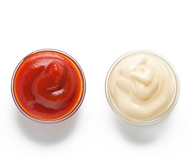 mixed, bbq condiments, wasabi soy, different sauces, homemade ketchup, bbq sauce, soy sauce, mayonnaise wasabi, ketchup heinz, tomato sauce, splat, restaurant stock photo
