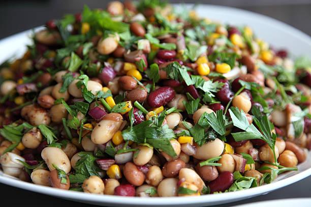 Mixed bean salad stock photo
