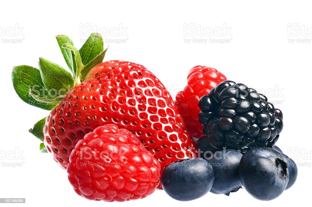Mixed berries over white stock photo