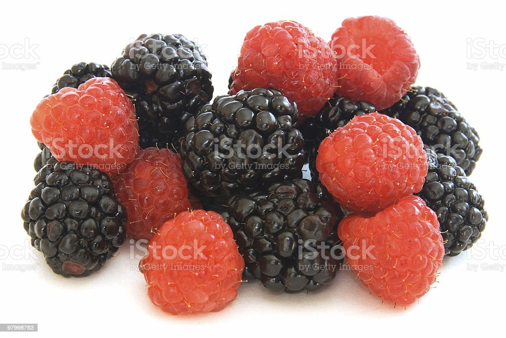 Mixed berries - raspberries and  blackberries on white royalty-free stock photo