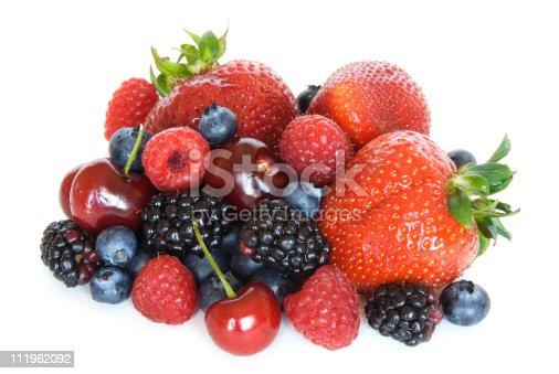 827935944 istock photo Mixed berries - strawberries, raspberries, blackberries, cherries, blueberries on white 111962092