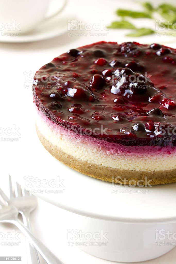 Mixed berry cheesecake stock photo