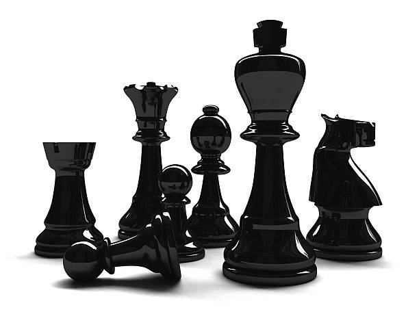 3D Mixed Black Chess Pieces stock photo