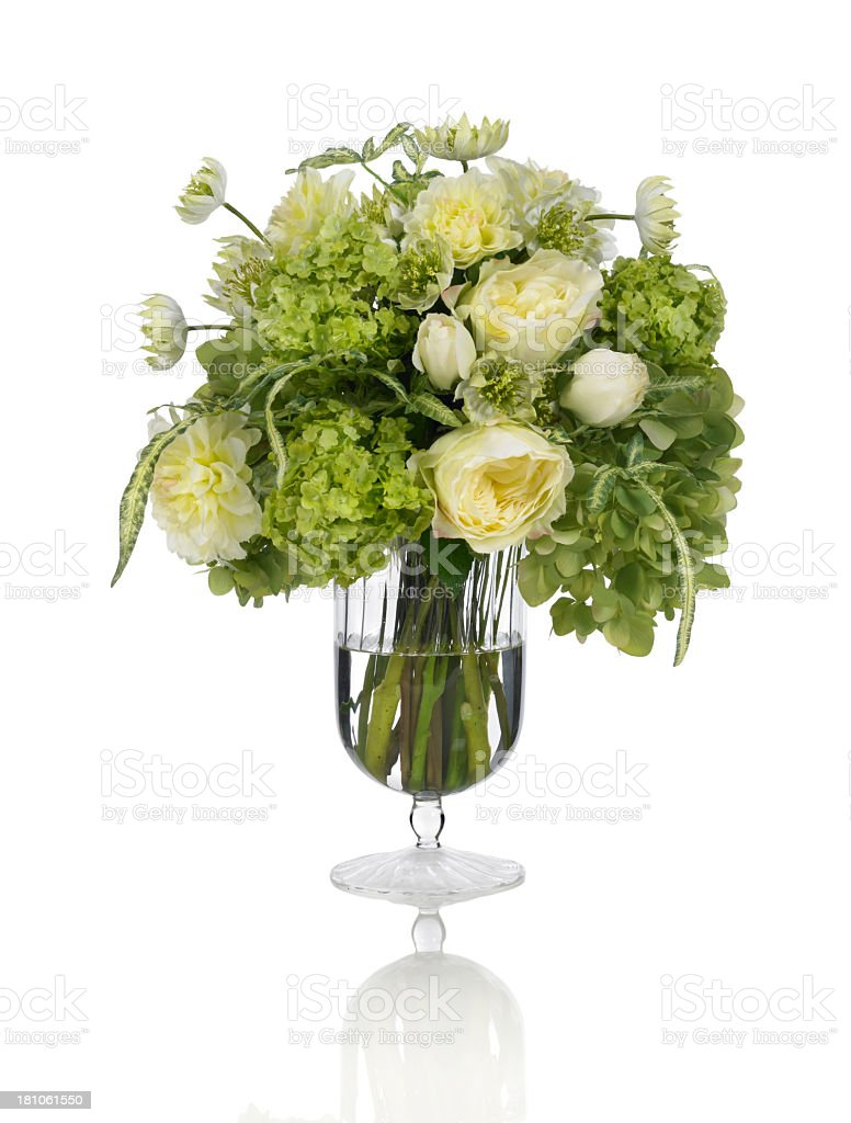 Mixed bouquet with roses, hydrangea and ranunculus on white background royalty-free stock photo