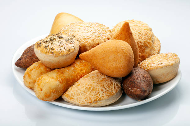 Mixed brazilian snack Mixed brazilian snack food coxinha stock pictures, royalty-free photos & images