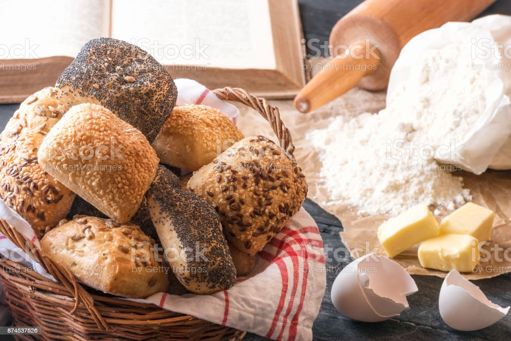 Mixed buns and baking ingredients stock photo
