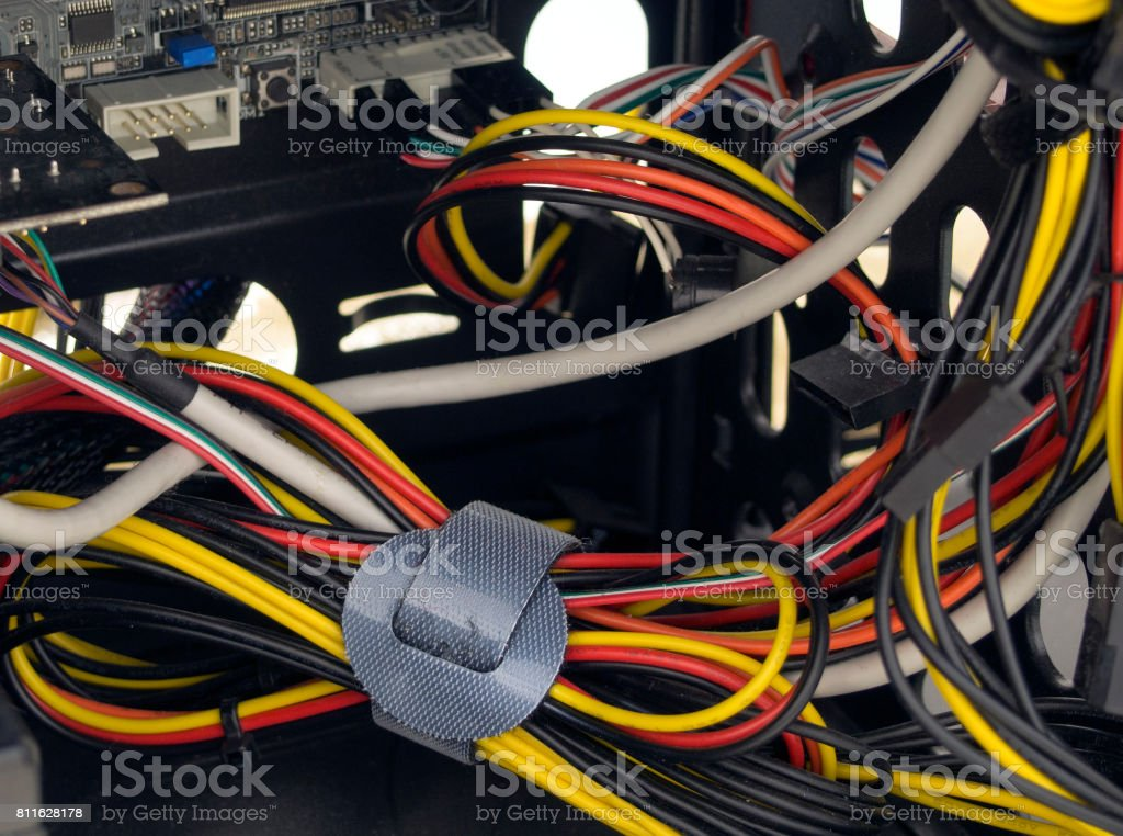 Mixed cable in computer stock photo
