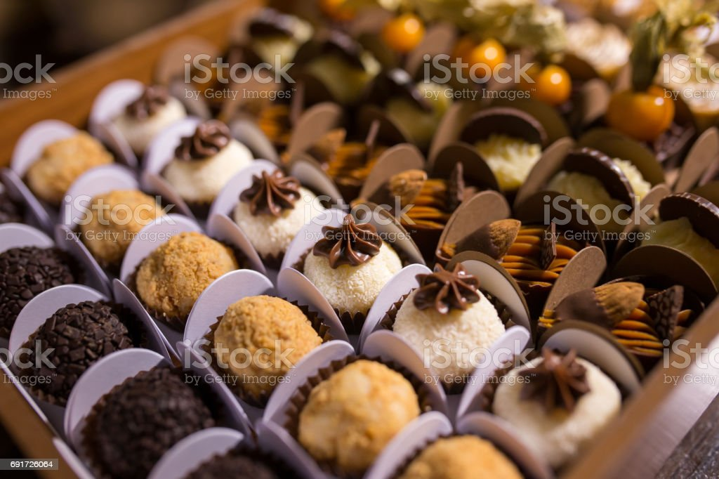Mixed Chocolate Truffles - Brigadeiros stock photo