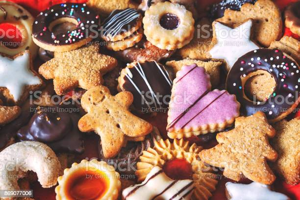 Close up of mixed Christmas cookies as background