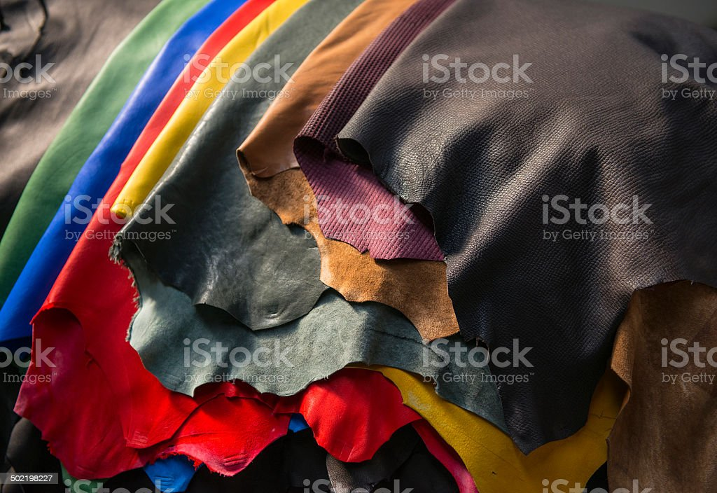 Mixed colored leather stock photo
