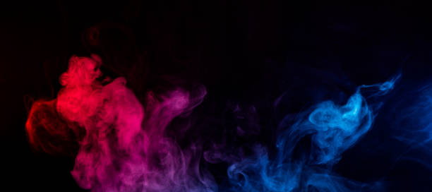 mixed colors of blue and red smoke stock photo