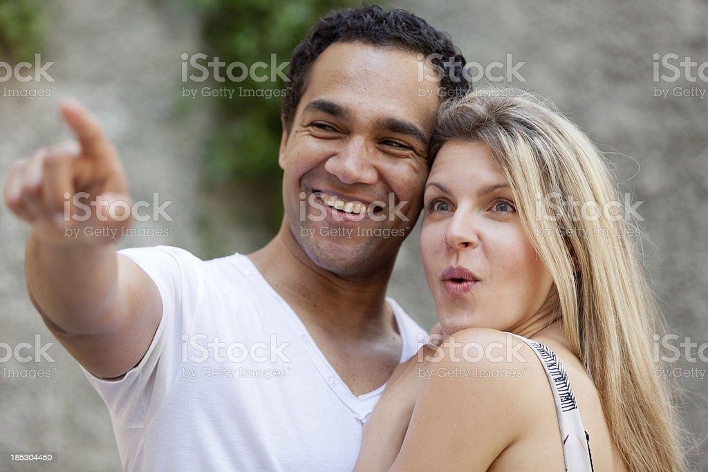 Mixed couple stock photo