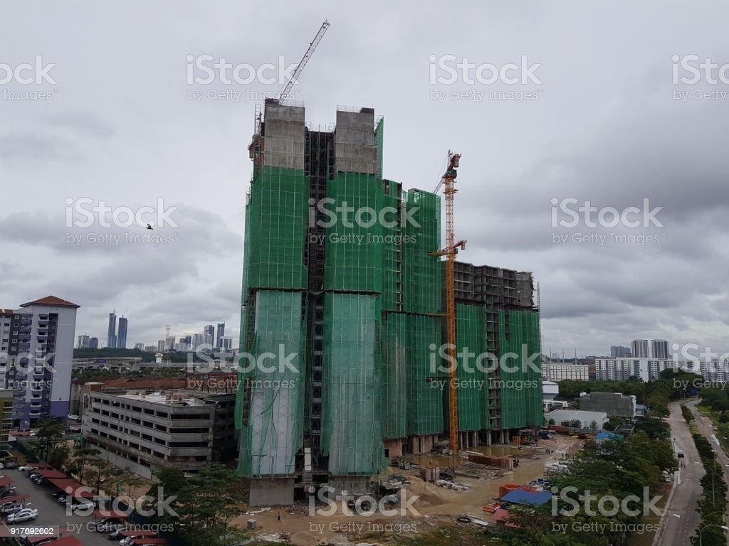 Mixed development and construction in cityscape of Johor Bahru, Malaysia stock photo