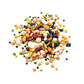 istock Mixed dried legumes heap isolated on white background 1291439200