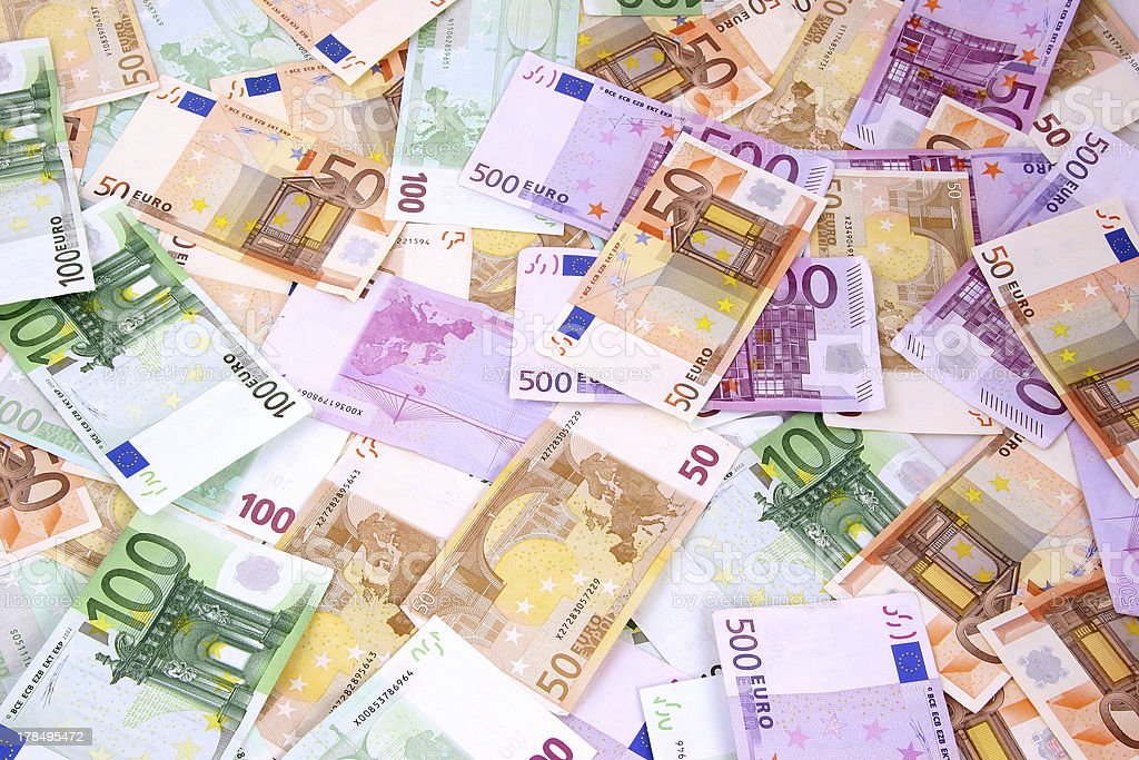 Mixed Euro Background 50 100 and 500 bills stock photo
