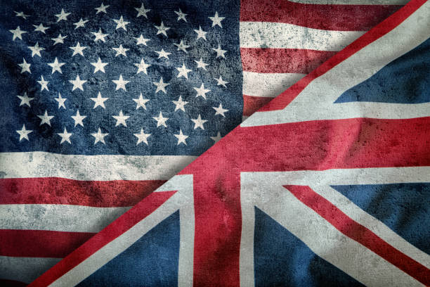Mixed Flags of the USA and the UK. Union Jack flag.Flags of the USA and the UK Divided Diagonally. Mixed Flags of the USA and the UK. Union Jack flag.Flags of the USA and the UK Divided Diagonally. Anglo American stock pictures, royalty-free photos & images