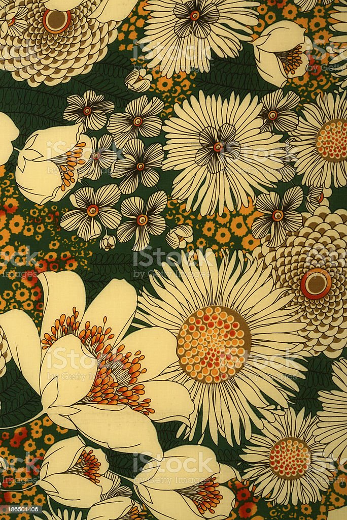 Mixed Floral Vintage 1960's Fabric Background royalty-free stock photo