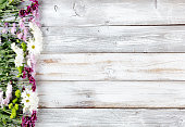 Colorful mixed flowers forming left border on white weathered wooden boards
