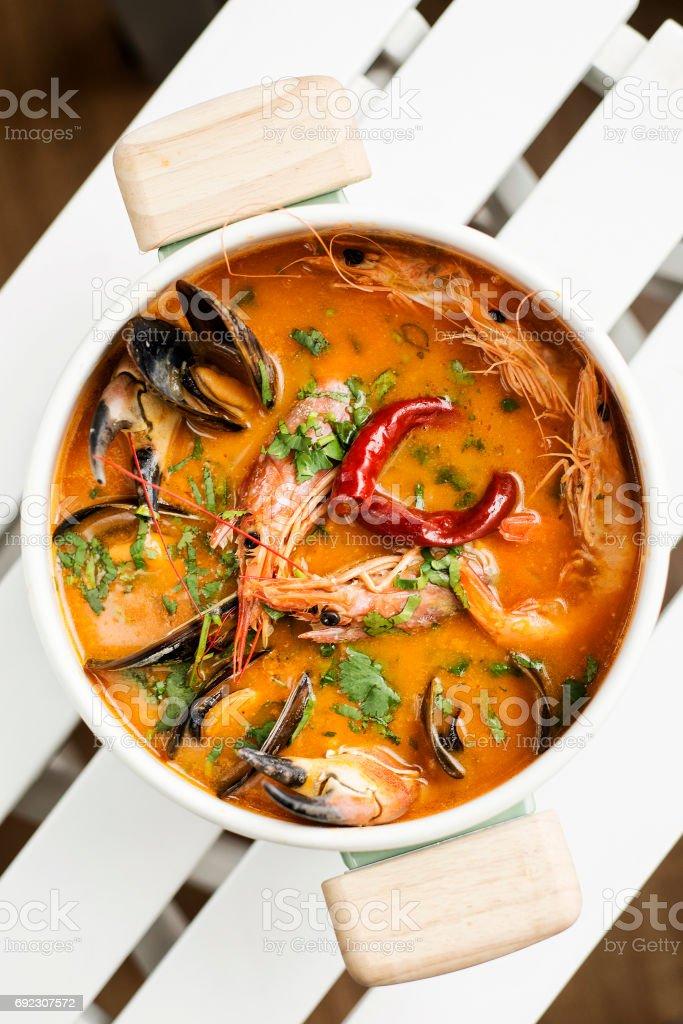gemischte Meeresfrüchte cremig würzig Chowder Suppenschüssel – Foto