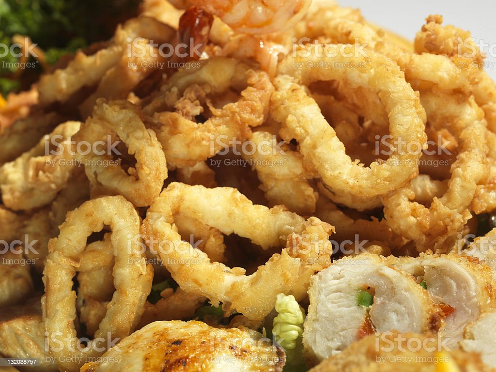 Mixed fried seafood royalty-free stock photo