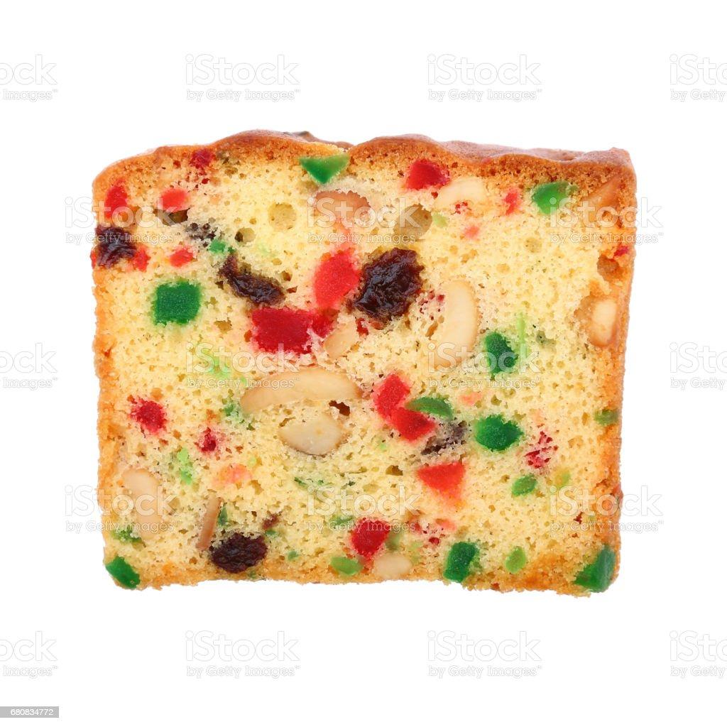 mixed fruit cake isolated on white stock photo