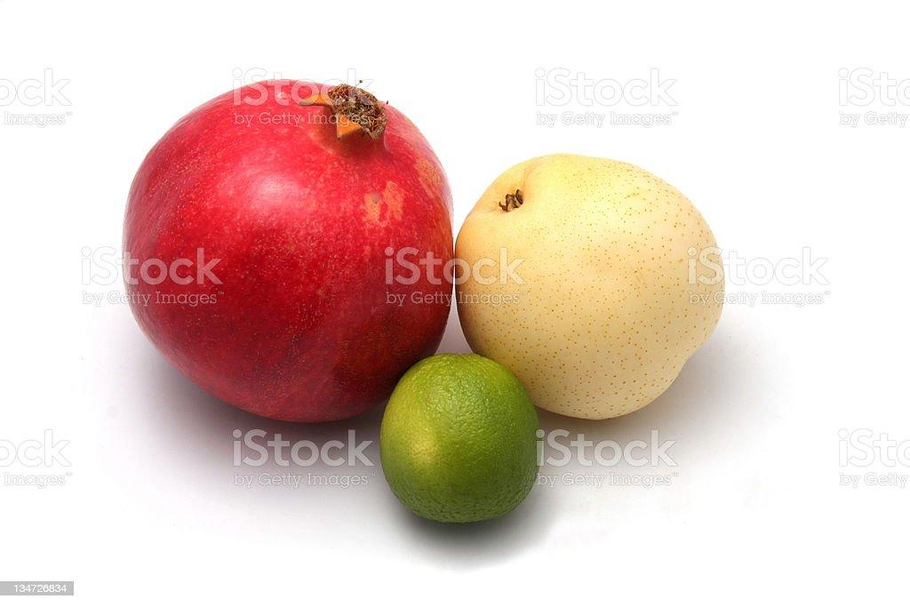 Mixed fruit on white background stock photo