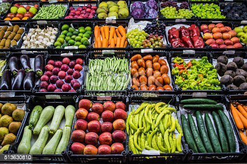 istock Mixed fruits and vegetables at organic fair 513630810