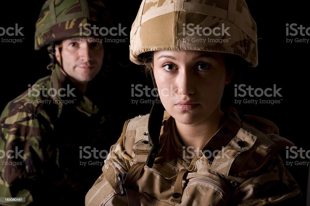 Mixed Gender Soldiers stock photo