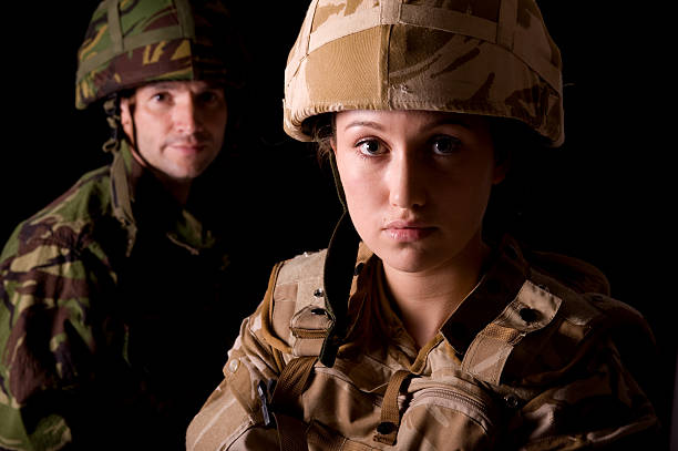 mixed gender soldiers - uk military stock photos and pictures