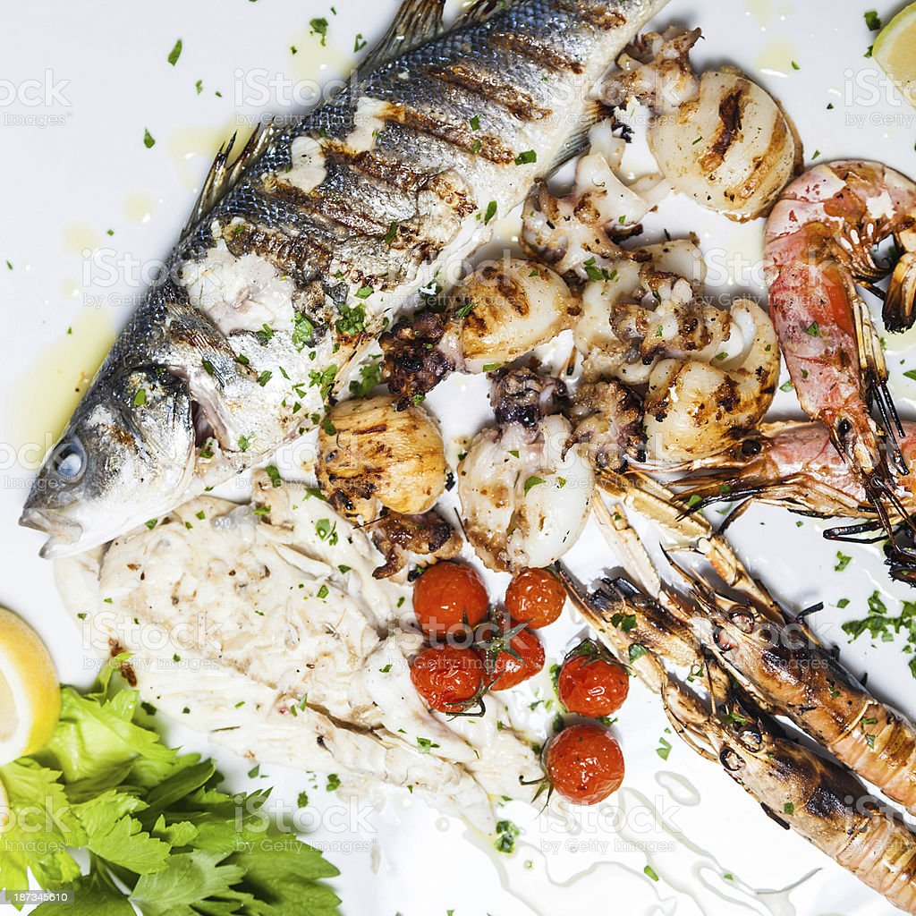 Mixed grill seafood royalty-free stock photo