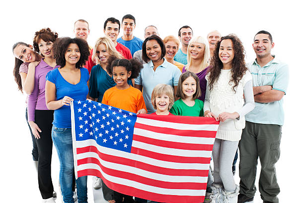 Mixed group of nations behind the American flag. stock photo