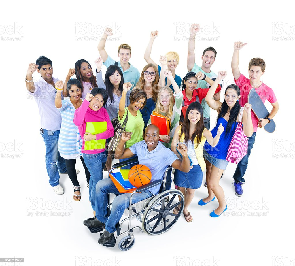 Mixed group of students cheering together royalty-free stock photo