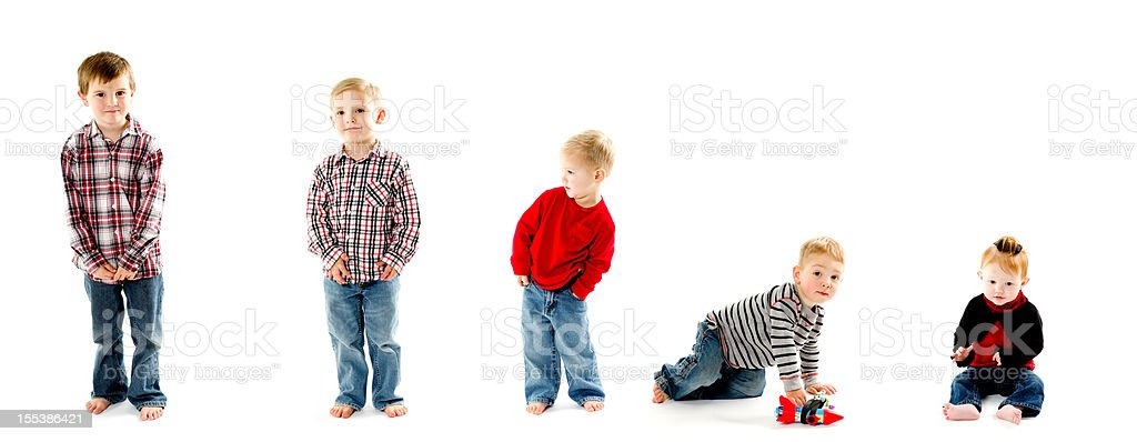 Mixed group of various age children stock photo