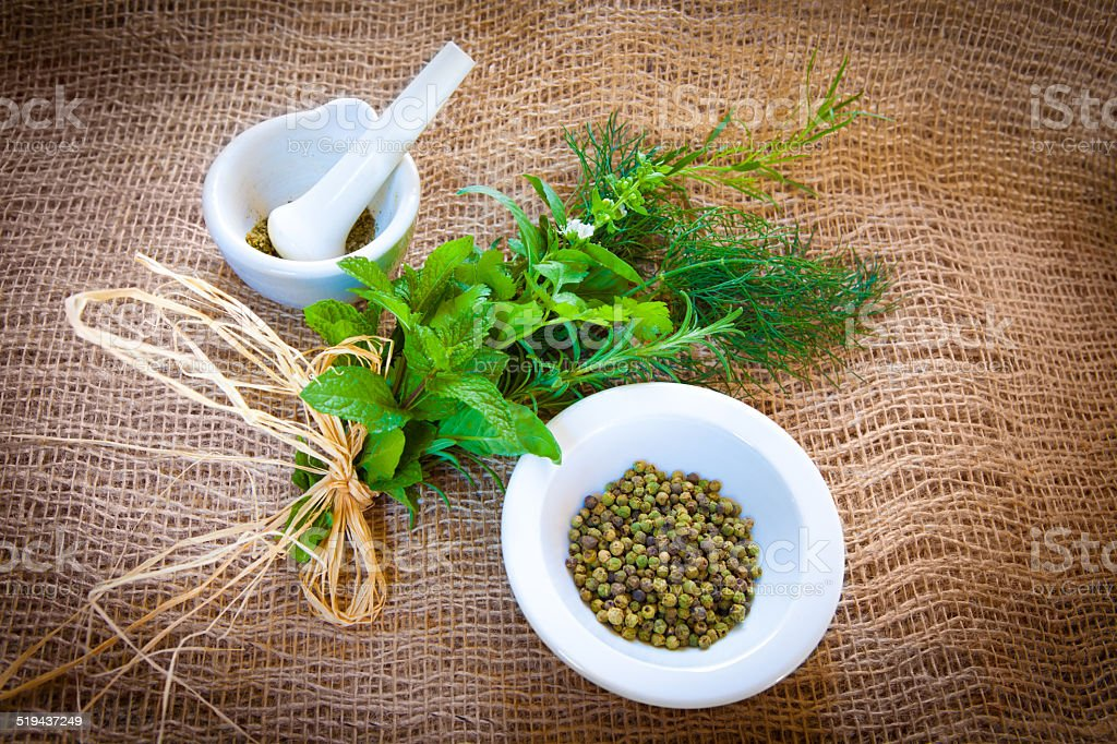 Mixed herbs and green pepper stock photo