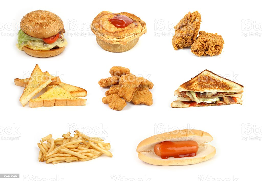 mixed junk food royalty-free stock photo